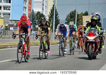 ZIAR NAD HRONOM, SLOVAKIA - JUNE 26, 2017: The Slovak and Czech National road cycling championship. Petr Vakoc from Quick Step Floors cycling team.