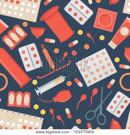 Cartoon Contraception Method Background Pattern Safe Sex for Man and Fomen Flat Design Style. Vector illustration
