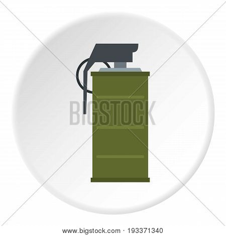 Smoke grenade icon in flat circle isolated on white background vector illustration for web