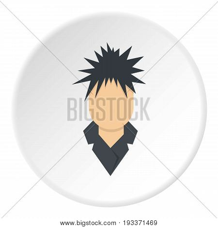 Singer icon in flat circle isolated on white background vector illustration for web