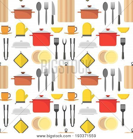 Cartoon Cookware Background Pattern Kitchen Utensils for Home and Restaurant Flat Design Style. Vector illustration