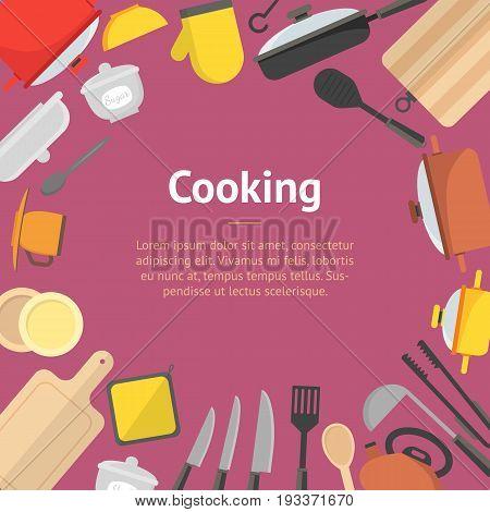 Cartoon Cookware Banner Card Kitchen Utensils for Home and Restaurant Flat Design Style. Vector illustration