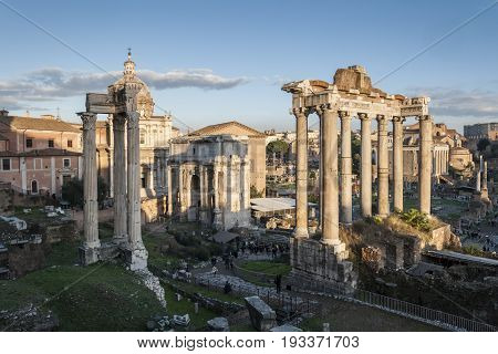 Views of Roman Forum, Rome, Italy, with the Temple of Saturn the Arch of Septimius Severus and the Temple of Vespasian and Titus