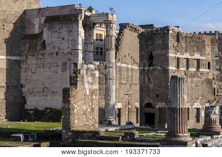 Views of the Temple of Trajan, in Rome, Italy