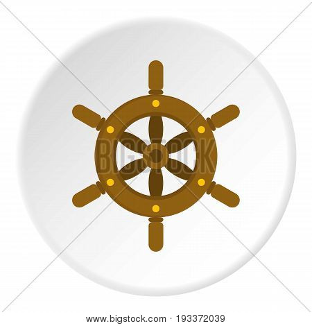 Ship wheel icon in flat circle isolated on white background vector illustration for web