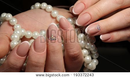 French Manicure With Decoration