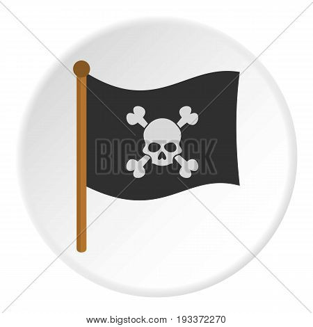 Pirate flag icon in flat circle isolated on white background vector illustration for web