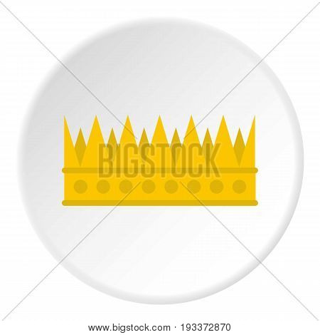 Regal crown icon in flat circle isolated on white background vector illustration for web