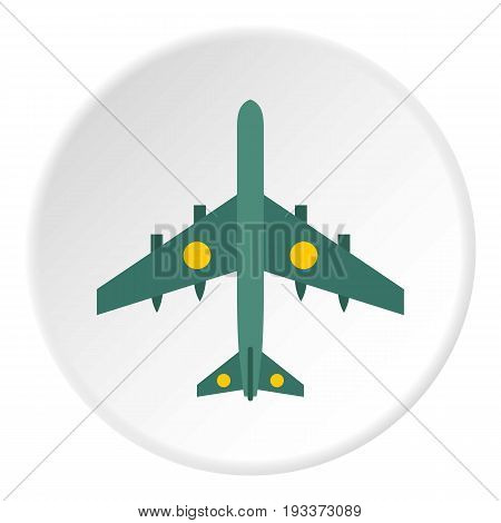 Military aircraft with missiles icon in flat circle isolated on white background vector illustration for web