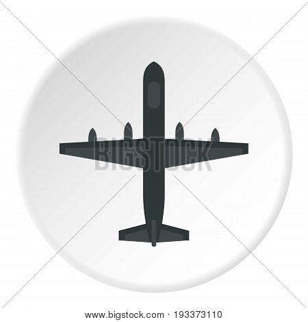 Large aircraft with missiles icon in flat circle isolated on white background vector illustration for web