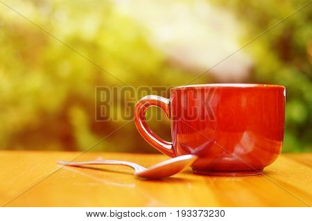 coffee on table ,Coffee cup. Morning light