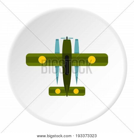 Military biplane icon in flat circle isolated on white background vector illustration for web
