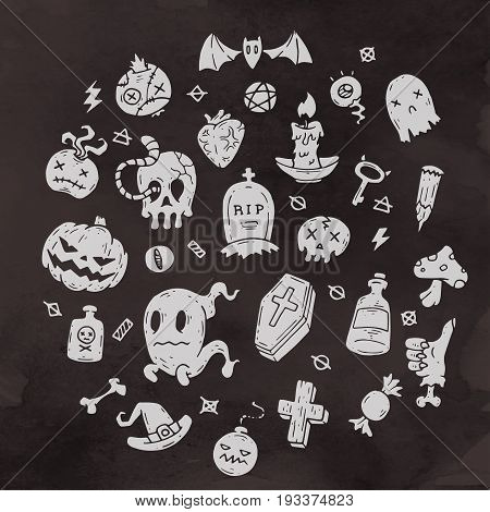 Set Of Cartoon Happy Halloween icons. Halloween Stickers Set. Cartoon Icons and Other Elements. Vector illustration. Cute Halloween Characters.