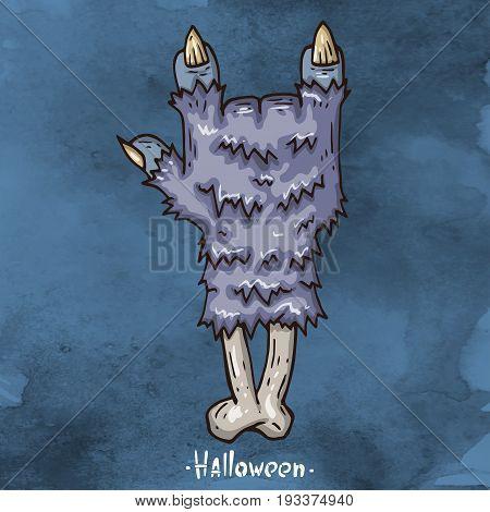 Happy Halloween Cartoon illustration. Severed hand werewolf.