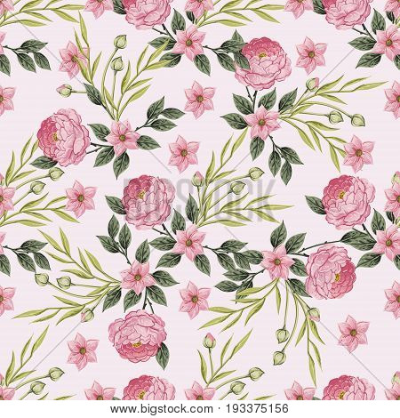 Vintage Floral seamless pattern with Hydrangea and roses, hortensia and anemone, Vintage vector illustration. Classic. pastel color. botanical Illustration watercolor style for textile, wallpaper