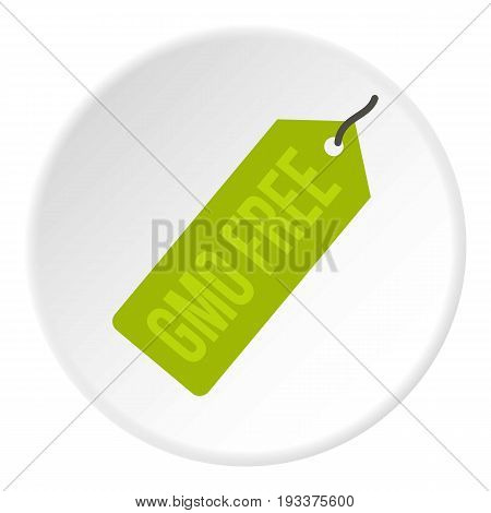 GMO free green price tag icon in flat circle isolated on white background vector illustration for web