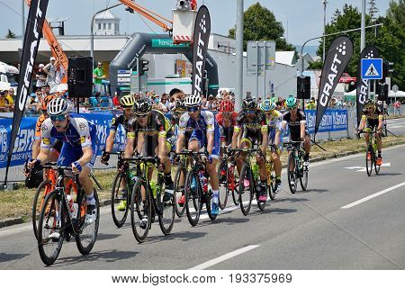 ZIAR NAD HRONOM, SLOVAKIA - JUNE 26, 2017: The Slovak and Czech National road cycling championship. Petr Vakoc, Roman Kreuziger, Juraj Sagan and Zdenek Stybar.