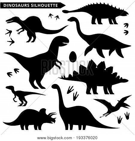 Dinosaurs silhouette set isolated on white background.