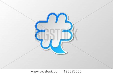vector white hashtag twitter icon in blue speech symbol. social media community icon symbol. paper style trendy  modern illustration