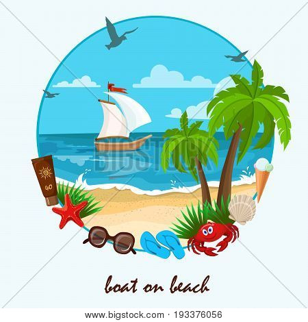 beach and accessories for rest.Summer holidays background on the beach with travel accessories. vector