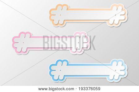 vector white hashtag twitter icon in pastel speech symbol. social media community icon symbol. paper style trendy modern illustration