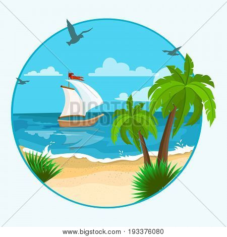 Seascape with boat and palm tree. Sea view with cartoon sailboat and sun on the blue sky. vector
