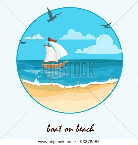 Seascape with boat. Sea view with cartoon sailboat and sun on the blue sky. vector