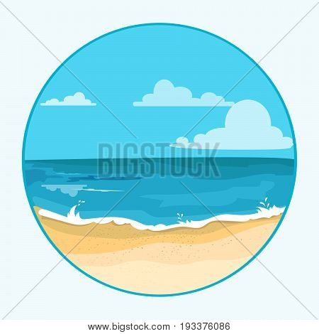 Seascape on white background. Sea view with cartoon sailboat and sun on the blue sky. vector