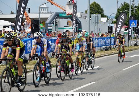 ZIAR NAD HRONOM, SLOVAKIA - JUNE 26, 2017: The Slovak and Czech National road cycling championship. Juraj Sagan and Zdenek Stybar.