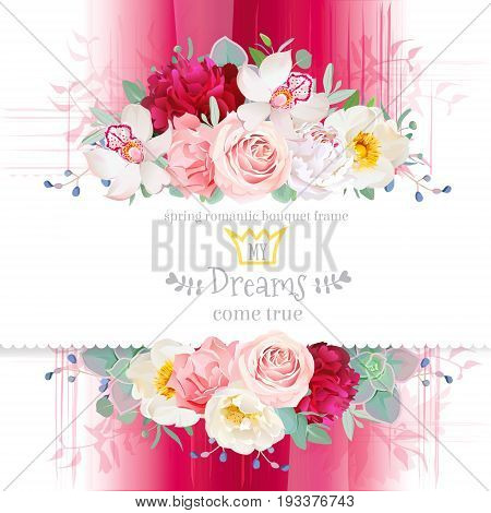 White and burgundy red peony, pink rose, orchid, carnation, orchid, echeveria succulent vector design frame. Pink gradient background in watercolor style. All elements are isolated and editable