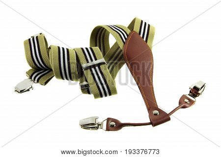 Pair of Trousers Braces on White Background