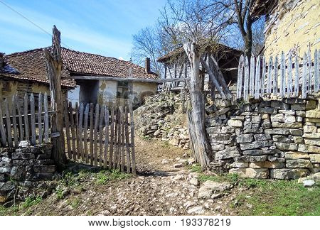 Abandoned village in Serbia. Old houses in abandoned Serbian mountain village.
