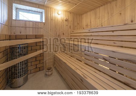 Interior of a Finnish and turkish home sauna