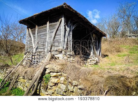Farm shed. Abandoned farm shed in Serbian village.