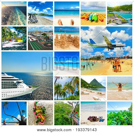 Collage from views of the Caribbean beaches of Saint Martin Lucia Dominicana. Happy Caribbean cruise concept