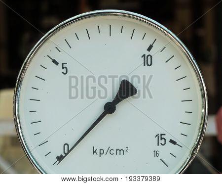 Old Used Manometer or Pressure Gauge of Heating System in A Boiler Machine.