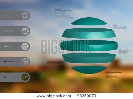 3D illustration infographic template with motif of ball horizontally divided to five standalone blue sections with simple sign and sample text on side in bars. Blurred photo is used as background.