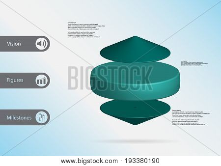 3D Illustration Infographic Template With Cylinder Between Two Cones Horizontally Arranged