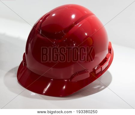Red Safety helmet Isolated white background, Yellow Working Hard Hat; Personel Protection Equipment PPE