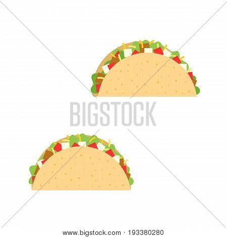 taco with beef, onion, tomato, lettuce and cheese illustration, Mexican cuisine, flat design vector