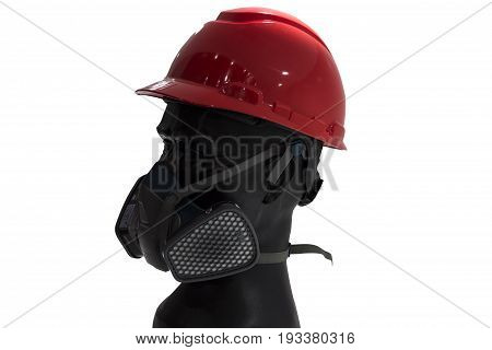 a mannequin with Safety helmets and gas filter mask; white background; Working Hard Hat;Personel Protection Equipment PPE;clipping mask