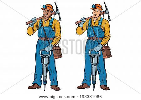 African and Caucasian miners with jackhammer pickaxe. Pop art retro vector illustration