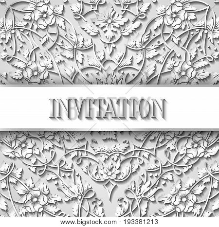 Cutout Paper Invitation Card With Intricate Design, Paper Lace Decoration, White Voluminous Elements