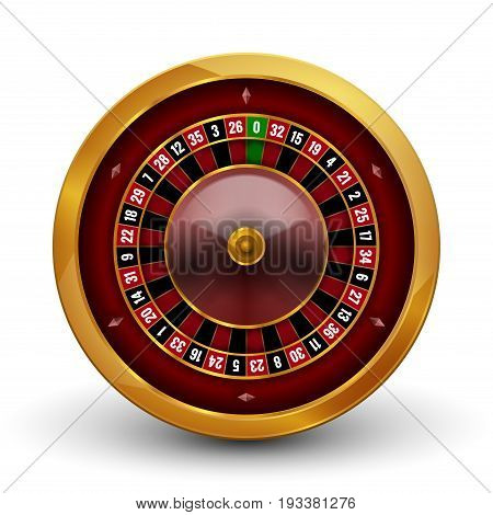 Realistic casino gambling roulette wheel isolated on white background. Vector play chance luck roulette wheel illustration.