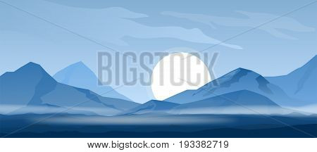 Simple blue mountain background with sun and mist