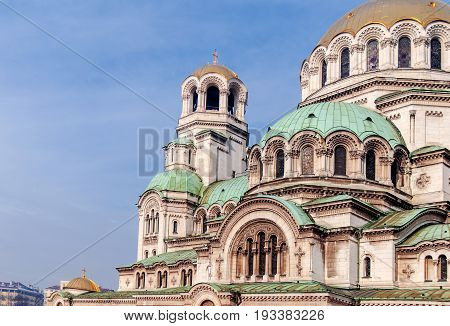 Part of Alexander Nevsky Cathedral in Sofia the capital of Bulgaria