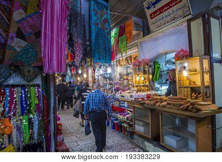 JERUSALEM - APRIL 13 : The market in old city of Jerusalem Israel on April 13 2017. The market is very popular site for tourists and pilgrims visiting Jerusalem