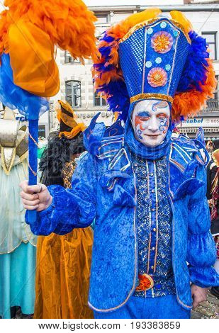 BINCHE BELGIUM - FEB 26 : Participant in the Binche Carnival in Binche Belgium on February 26 2017. The Binche carnival is included in a list of intangible heritage by UNESCO.