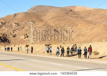 Group Of Young Tourists In The Israel Negv Desert