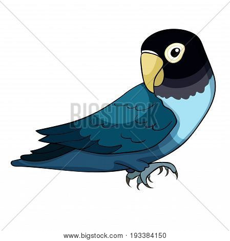 Masked Lovebird A Blue Parrot. Vector Illustration